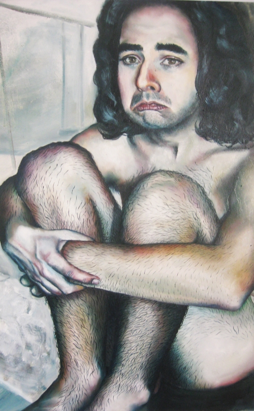 painting of sad-looking nude model sitting outside in the snow and staring at the viewer, oil on canvas